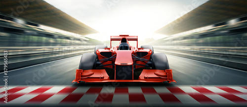 Fotografie, Obraz Race driver pass the finishing point and motion blur backgroud