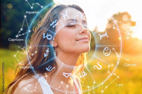 Astrology, twelve zodiac signs and beautiful woman Fototapete