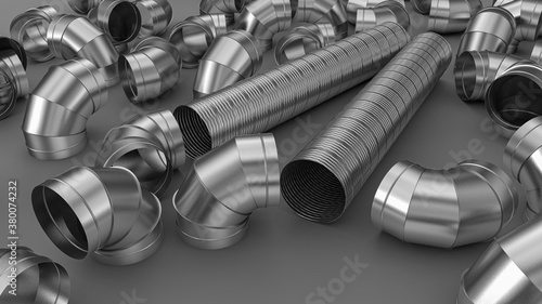 Fotografía Galvanized elbow spiral duct for air conditioning and ventilation systems in industrial equipment