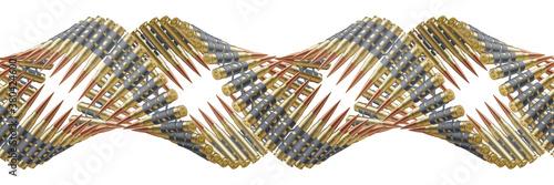 Fototapeta Machine gun belts twisted like a DNA spiral