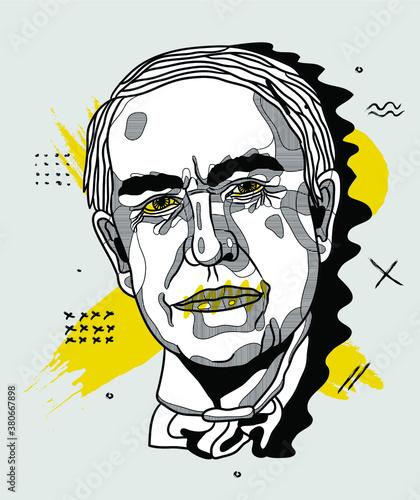 Fotografia, Obraz Creative geometric yellow style.  Thomas Edison.