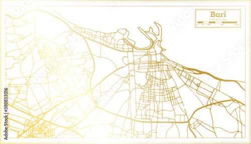 Fotografie, Obraz Bari Italy City Map in Retro Style in Golden Color. Outline Map.