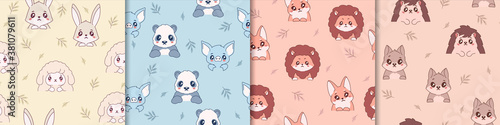 Cute anime animals seamless pattern. Kind yellow hares and sheep in cartoon style joyful pandas and blue pigs orange chanterelles lion cubs playful hedgehogs and vector squirrels.