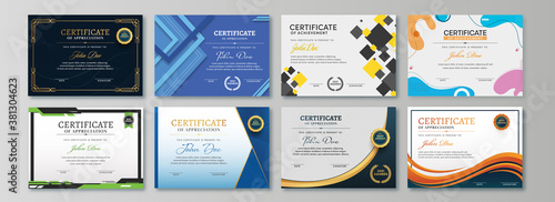 Appreciation & Achievement Certificate Template Design in Eight Options.