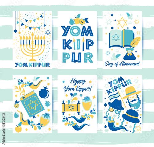 Obraz na plátně Yom Kippur greeting set cards with candles, apples and shofar and symbols