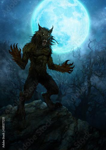 Photo Scary werewolf and full moon - digital illustration