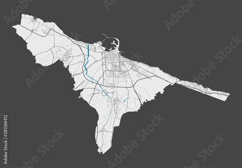 Obraz na plátně Detailed map of Bari city, Cityscape