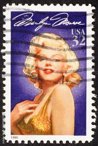 Obraz na płótnie Marilyn Monroe on american postage stamp