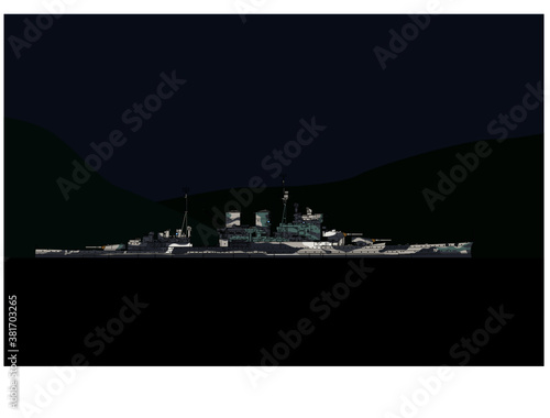 Royal Navy Battlecruiser of the second world war in the harbor Fototapete
