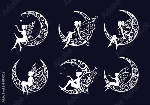 Photo Set of fairy and crescent moon cut file illustration