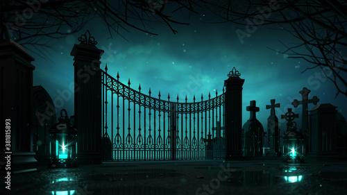 Fotografía Cemetery entrance gate with glaring lanterns around at dark night