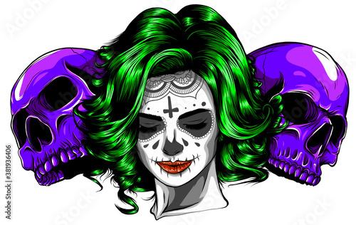 Valokuvatapetti Woman with head skulls vector illustration graphics