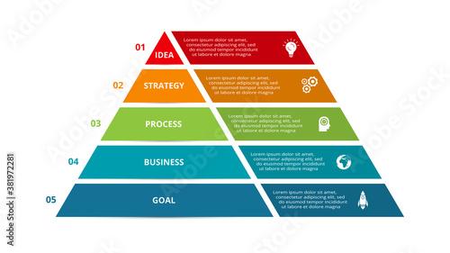 Stampa su Tela Vector pyramid up arrows infographic, diagram chart, triangle graph presentation