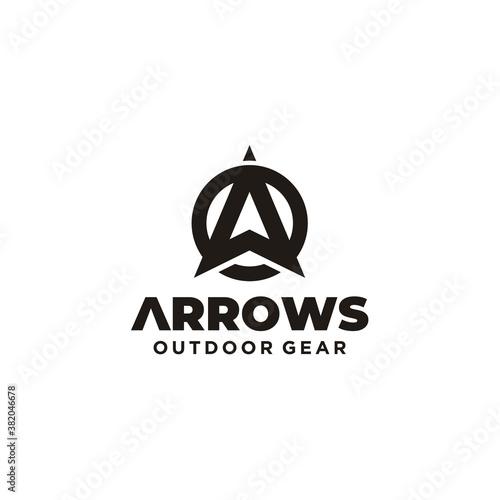 Initial Letter A Arrow with Arrowhead for Archer Archery Outdoor Apparel Gear Hu Fototapeta