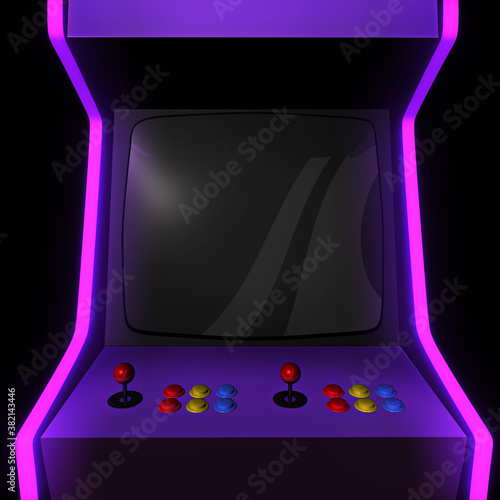 Fotografia Close up to the empty screen of an arcade machine
