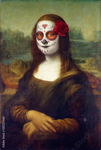 Obraz na plátně Mona Lisa is going to a Halloween party