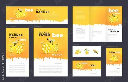 Honey mead bee Set flyer cover, tri-fold, banner, roll up banner, business card Fototapeta