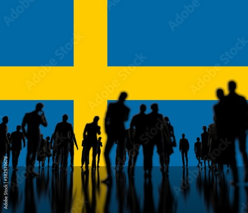 Photo Flag of Sweden and backlit crowd, 3d rendering