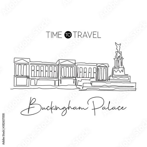 Canvas Print One single line drawing Buckingham Palace landmark