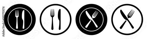 Fotografie, Obraz Set plate, fork and knife icons - stock vector
