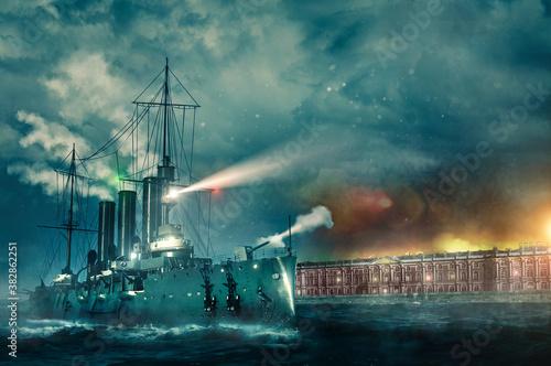 Fotografia October revolution 1917 in Saint Petersburg battleship Aurora