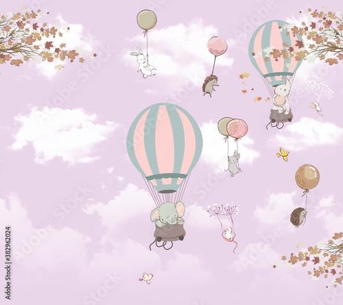 Obraz na płótnie z balonami do pokoju dziewczynki
