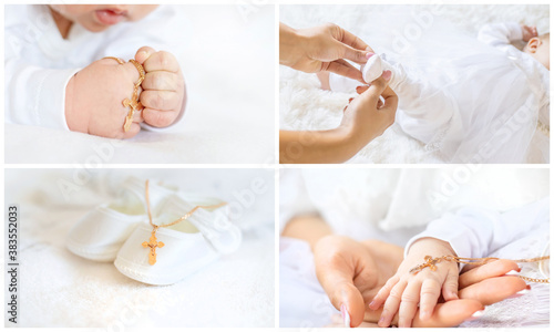 Fotografia Collage of the sacrament of the baptism of a baby