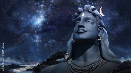 Photo Adiyogi Black Shiv Sculpture Coimbatore Statue With Moon On The Head with stars