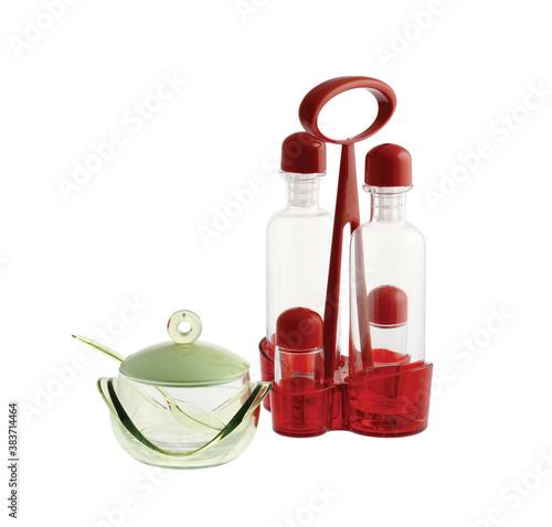 kitchen tool: oil and vinegar cruet isolated on white background
