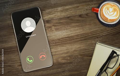 Vászonkép Unknown caller telephony concept