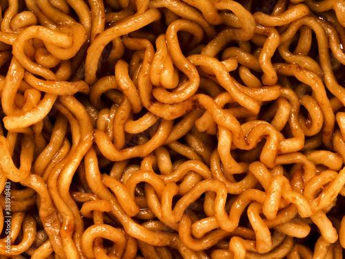 fried soy sauce noodles food background