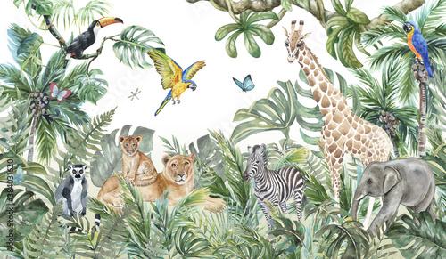 Children's wallpaper, watercolor jungle and animals. Lions, giraffe, elephant, parrots, zebra, lemur