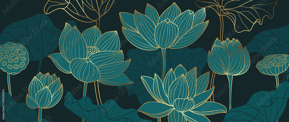Luxury lotus background design with golden line and emerald green color. Lotus flowers line arts design for wallpaper, natural wall arts, banner, prints, invitation and packaging design.