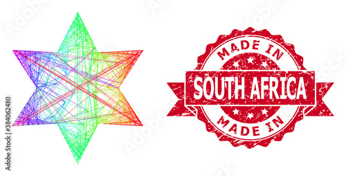 Photo Distress Made in South Africa Stamp and Spectrum Hatched Six Corner Star