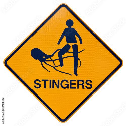 Marine stingers or jelly fish warning sign