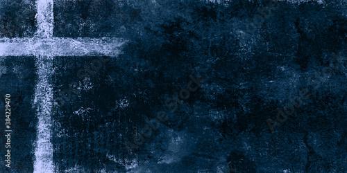 Obraz na płótnie light cross on dark blue textured painting background with copy space