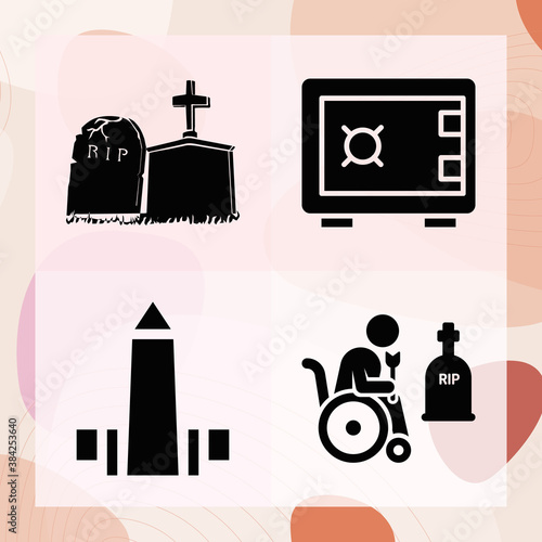 Foto Simple set of burial chamber related filled icons