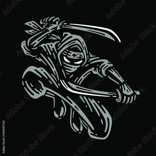 Obraz na plátně ninja holding two sword in dark background