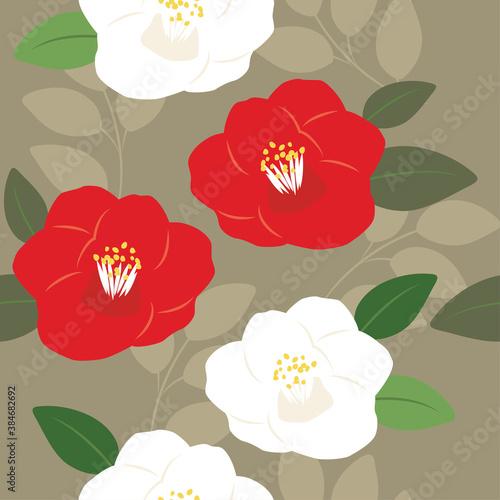 Billede på lærred Vector camellia flowers seamless pattern