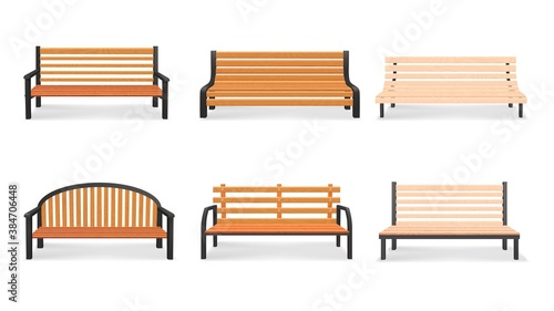 Fotografija Vector set of wooden bench 3d models isolated on white background