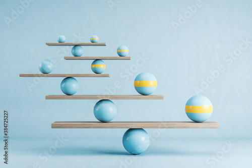 Murais de parede Scales with blue ball on blue background.