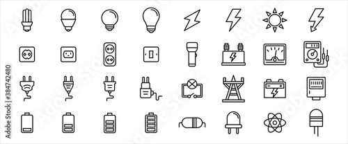 Tablou Canvas Simple Set of electricity component Related Vector icon graphic design