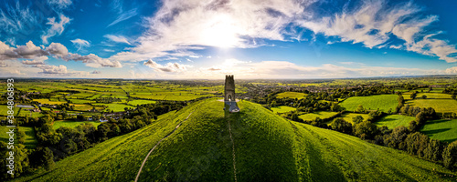 Vászonkép Glastonbury Tor near Glastonbury in the English county of Somerset, topped by th