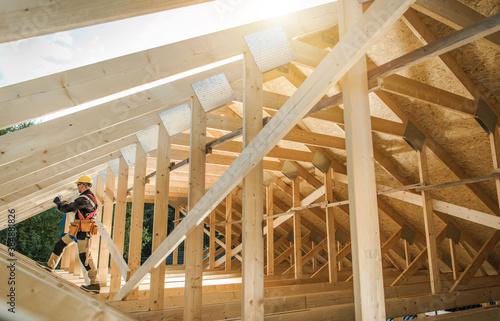 Vászonkép Wooden Roof Skeleton Frame of Building