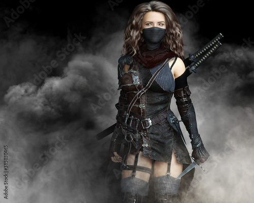 Canvas Print Mysterious silent rogue assassin female piercing through the smoke toward her target