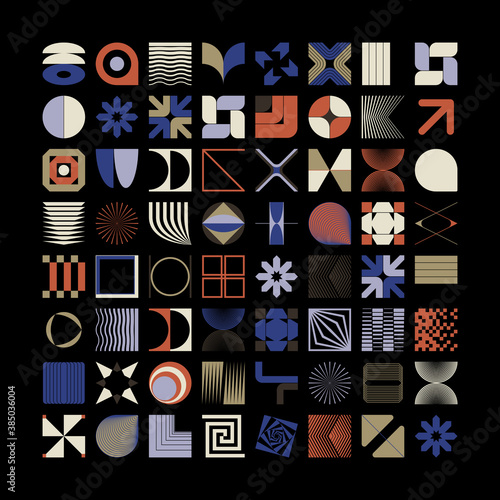 Obraz na plátne Geometric Shapes and Abstract Modernism Logo Form Elements