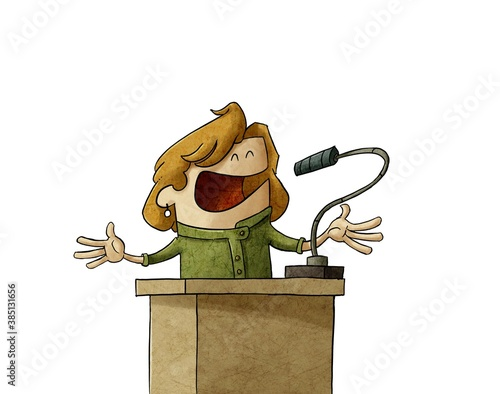 Photo businesswoman or politician is giving a campaign speech, she is serene and calm