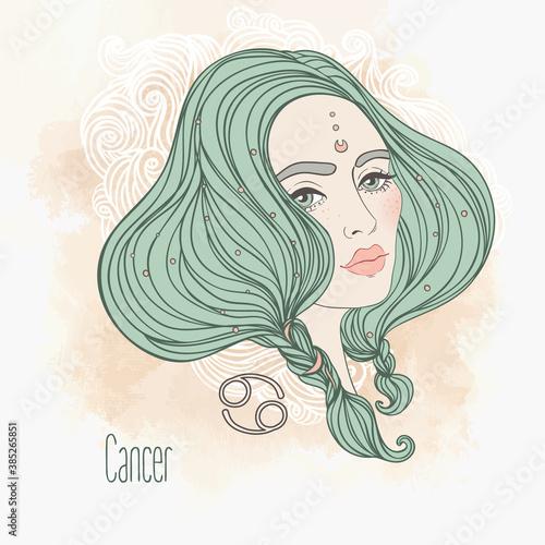 Fotografie, Obraz Zodiac Illustration of cancer zodiac sign as a beautiful girl