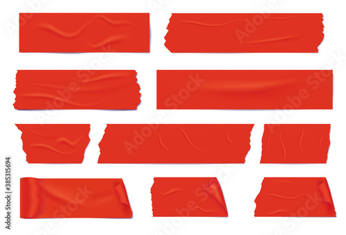 Cuadros en Lienzo Slices of a red adhesive tape with shadow and wrinkles.