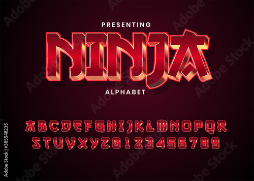 Obraz na plátně 3d modern red metallic game style font alphabet collection